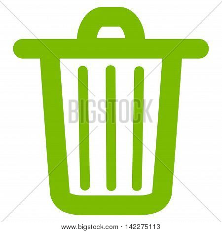 Trash Can glyph icon. Style is linear flat icon symbol, eco green color, white background.