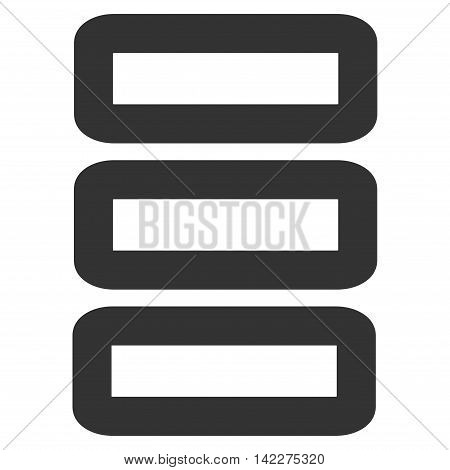 Database glyph icon. Style is stroke flat icon symbol, gray color, white background.