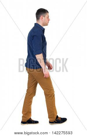 Back view of going  handsome man. walking young guy . Rear view people collection.  backside view of person.  Isolated over white background. a man in a blue shirt with the sleeves rolled up is right.