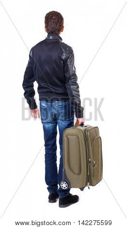 Back view of man with  green suitcase looking up. Rear view people collection.  backside view of person.  Isolated over white background. The traveler is carrying a suitcase.
