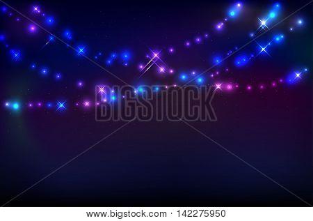Garlands of varicoloured abstract shiny lights against a dark night starry sky - vector illustration