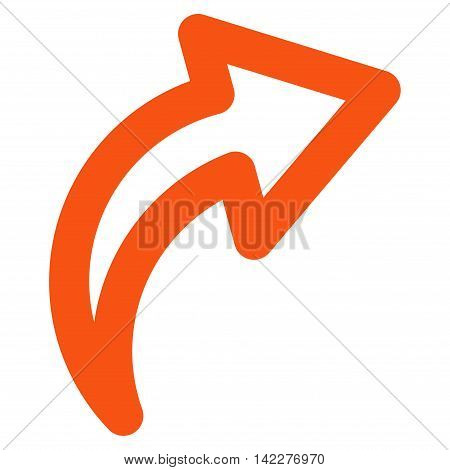 Redo glyph icon. Style is linear flat icon symbol, orange color, white background.