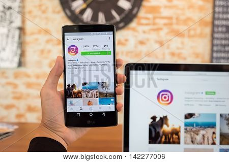 CHIANG MAI THAILAND - JULY 18 2016: A Women hand holding LG G4 with new logo of instagram application. Instagram is largest and most popular photograph social networking.
