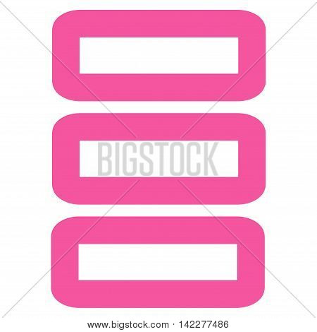 Database glyph icon. Style is stroke flat icon symbol, pink color, white background.