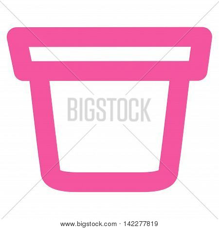 Pail glyph icon. Style is stroke flat icon symbol, pink color, white background.