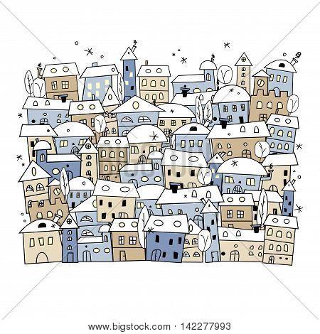 Cartoon of abstract winter village for christmas design - vector illustration