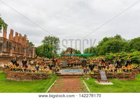Ayutthaya Thailand - July 02 2016. King Naresuan monument at Wat Thammikarat Ayutthaya Thailand