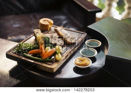 traditional british english sunday roast beef with vegetables classic meal