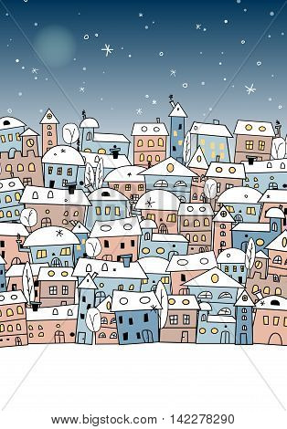 Card with abstract snowy village under night sky for your christmas and new year design - vector illustration