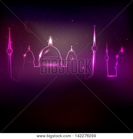 Glowing silhouette of abstract city with historic church towers - vector illustration