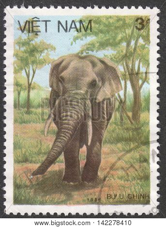 MOSCOW RUSSIA - CIRCA MAY 2016: a post stamp printed in VIETNAM shows an Asiatic elephant the series