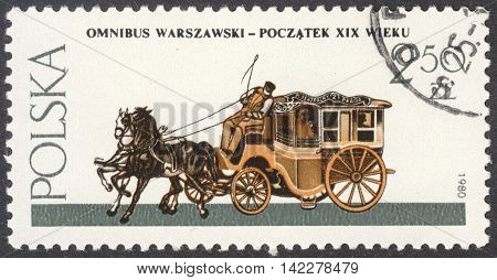MOSCOW RUSSIA - CIRCA MAY 2016: a post stamp printed in POLAND shows a Passenger coach the series