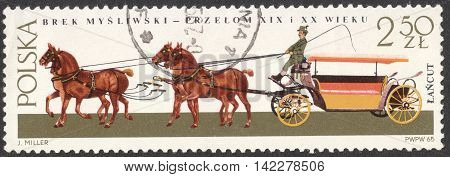 MOSCOW RUSSIA - CIRCA MAY 2016: a post stamp printed in POLAND shows a Hunting break coach the series