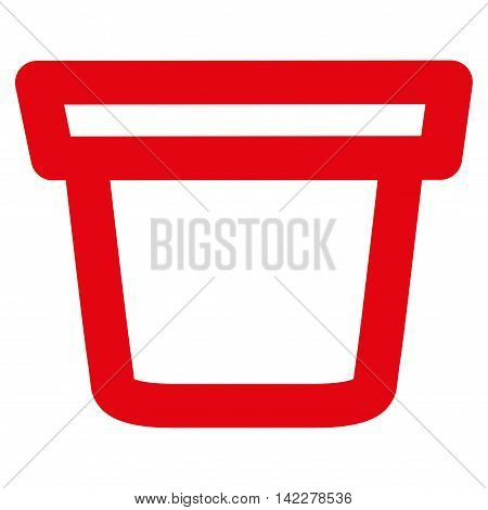 Pail glyph icon. Style is outline flat icon symbol, red color, white background.