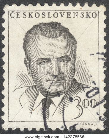 MOSCOW RUSSIA - CIRCA MAY 2016: a post stamp printed in CZECHOSLOVAKIA shows a portrait of Klement Gottwald the series