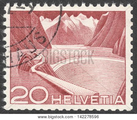 MOSCOW RUSSIA - CIRCA MAY 2016: a post stamp printed in SWITZERLAND shows Reservoir Grimsel the series