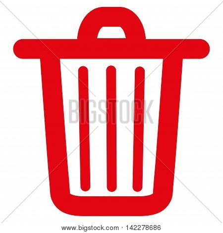 Trash Can glyph icon. Style is stroke flat icon symbol, red color, white background.