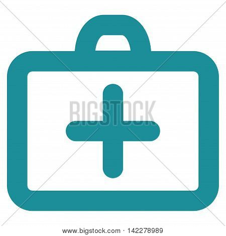 First Aid glyph icon. Style is contour flat icon symbol, soft blue color, white background.
