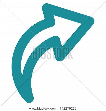Redo glyph icon. Style is outline flat icon symbol, soft blue color, white background.