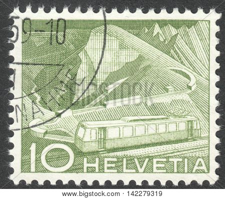 MOSCOW RUSSIA - CIRCA MAY 2016: a post stamp printed in SWITZERLAND shows Mountain Railway the series