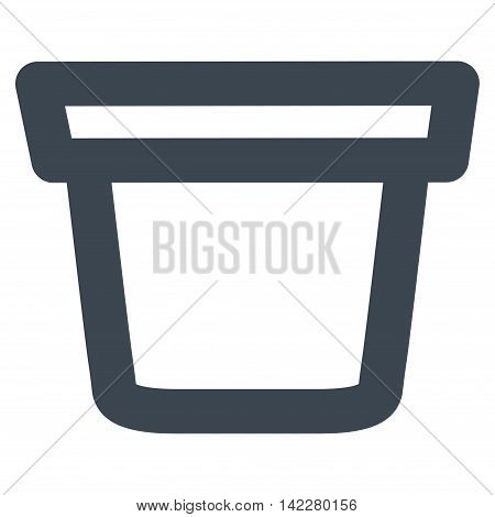 Pail glyph icon. Style is stroke flat icon symbol, smooth blue color, white background.