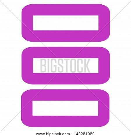 Database glyph icon. Style is stroke flat icon symbol, violet color, white background.