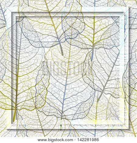 Frame with dried openwork  leaves. Autumn handmade  background. Vector EPS10
