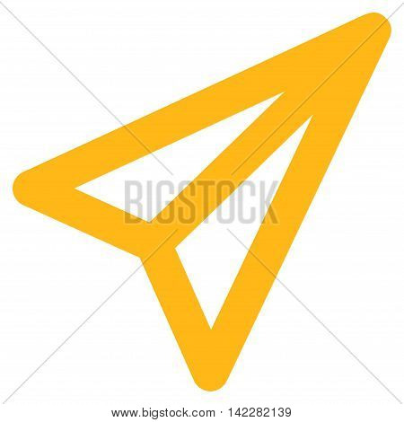 Freelance glyph icon. Style is stroke flat icon symbol, yellow color, white background.