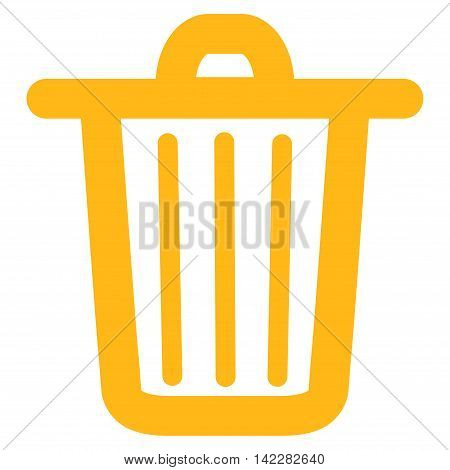 Trash Can glyph icon. Style is linear flat icon symbol, yellow color, white background.