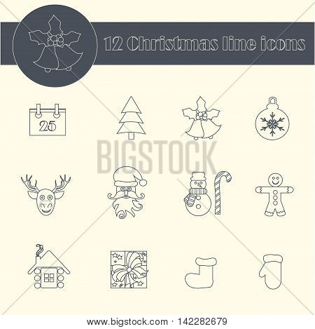 Set line Christmas icons. Santa Claus, Christmas tree, mitten, boot, snowman, gift, deer, bells, shelter, calendar, toy, Christmas gingerbread, vector illustration