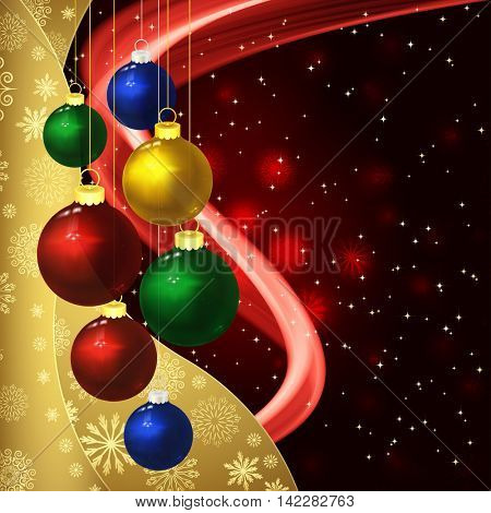 Christmas background with baubles on a dark red.