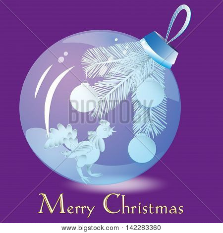 Vector image Christmas blue glass ball Drawing Christmas ball, placed inside a cock and balls on a festive Christmas tree branch for a holiday