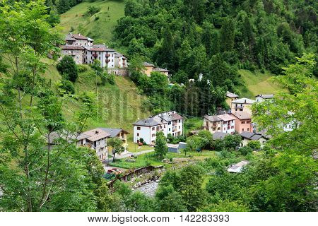 Panorama of village Rava in Lombardy Italy