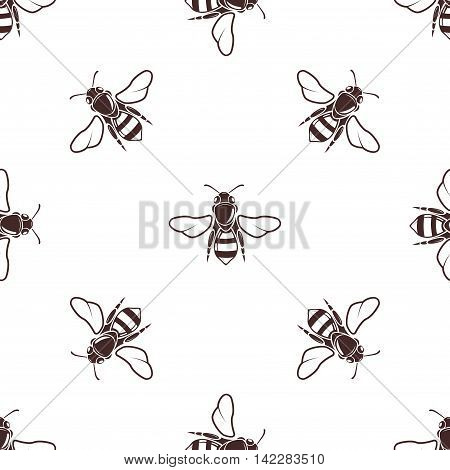 Honeybees vector seamless light pattern in brown color. Honeybee illustration