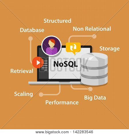 NoSQL non relational database concept vector laptop data