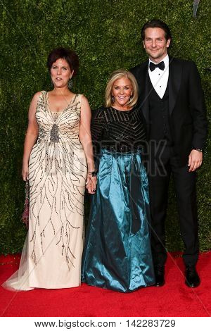 NEW YORK-JUN 7: (L-R) Holly Cooper, Gloria Campano and Bradley Cooper attend American Theatre Wing's 69th Annual Tony Awards at Radio City Music Hall on June 7, 2015 in New York City.