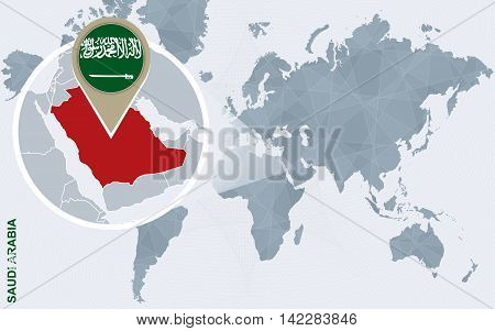 Abstract Blue World Map With Magnified Saudi Arabia.