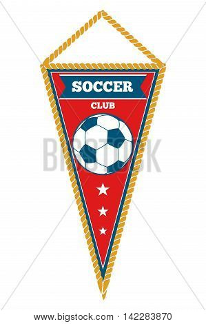 Red triangle soccer pennant isolated white. Football coor banner. Vector illustration