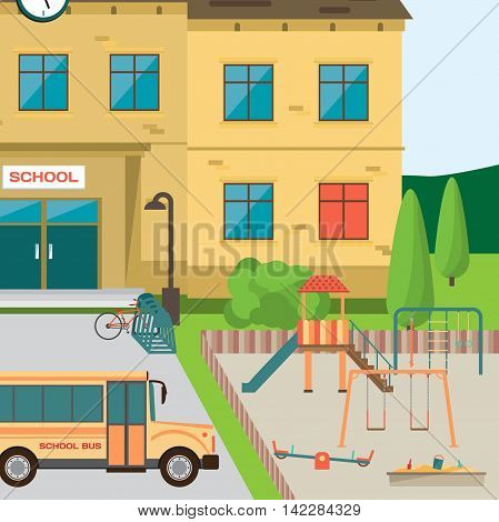 Welcome back to school. Building in park with children playground. Flat cartoon style vector illustration