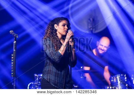 NEW YORK-SEPT 28: Singer Jordin Sparks performs at the iHeartRadio Album Release Party with Thomas Rhett on September 28, 2015 at the iHeartRadio Theater in New York City.