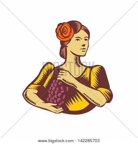 Illustration of a senorita spanish lady looking to the side holding grapes viewed from front set on isolated white background done in retro woodcut style.