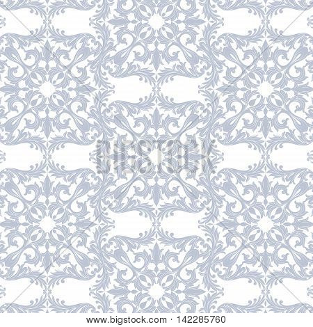 Vintage Baroque Rococo ornament pattern. Vector damask decor. Royal Victorian texture for textile fabric