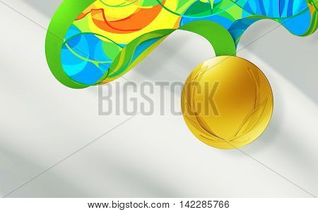 gold medal isolated on a grey background. 3d render