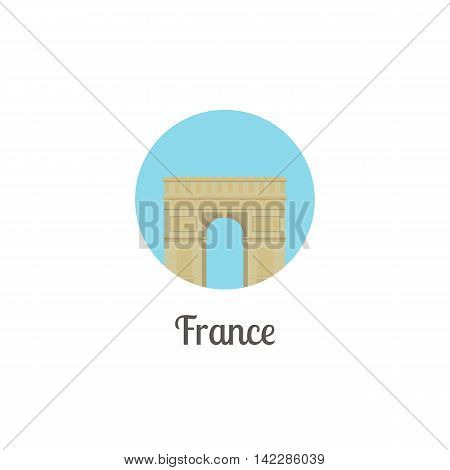 France arch landmark isolated round icon. Vector illustration