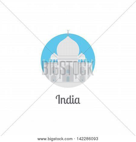 India landmark isolated round icon. Vector illustration