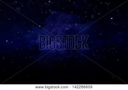 Night sky with stars and clouds. Dark blue tint