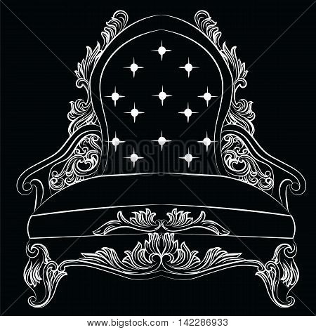 Baroque luxury style armchair furniture. Elegance with luxurious rich ornaments. French Luxury rich carved ornaments decoration. Vector Victorian exquisite Style furniture. Vector sketch
