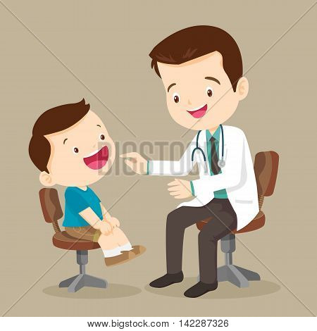 doctor is seeing a small boy.They are sitting at the table and talking.They are smiling. The doctor is looking at the child with joy. Isolated on background.doctor doing medical examination of kids. Vector