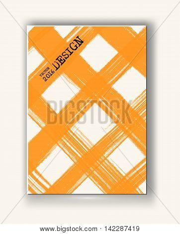 Business design templates. Abstract grunge pattern checkered textures. Brochure with Orange Cell Backgrounds. Wallpaper with empty space for your text. Vector hand drawn plaid illustration
