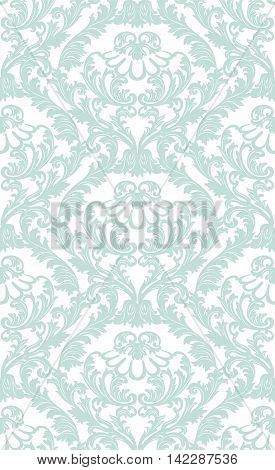 Vintage Baroque ornament pattern. Vector Luxury damask decor. Royal Victorian texture for textile fabric. opal blue color